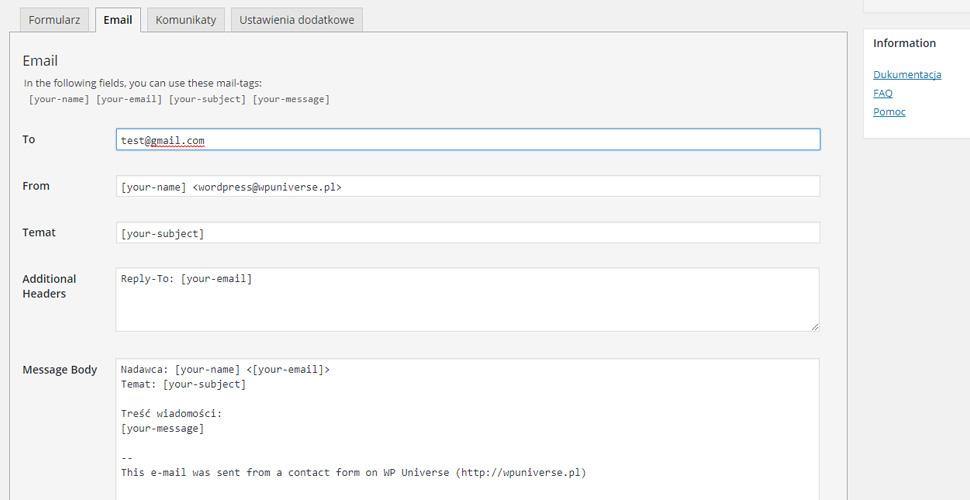 Konfiguracja wtyczki Contact Form 7 email