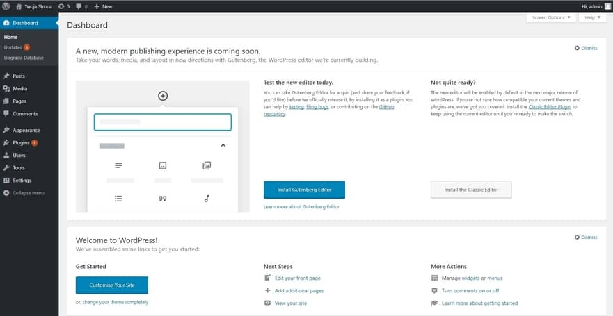 Wordpress krok po kroku Panel WordPress